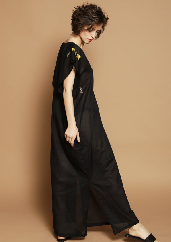 black maxi cover-up dress