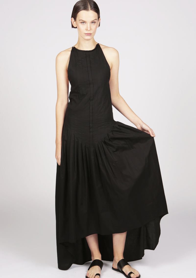 pleated evening dress dip hem thin straps