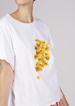 golden embroidered tee with scallop edge