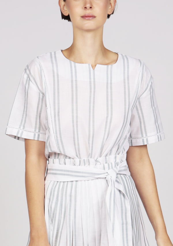 white striped lace trim cotton blouse