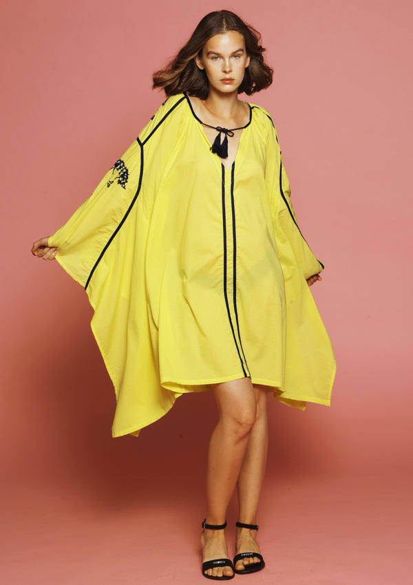 yellow embroidered cover-up beach dress