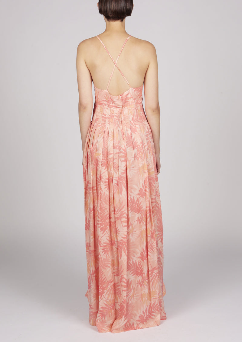 printed floral pleated maxi dress
