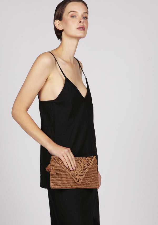 brown cocktail raffia clutch