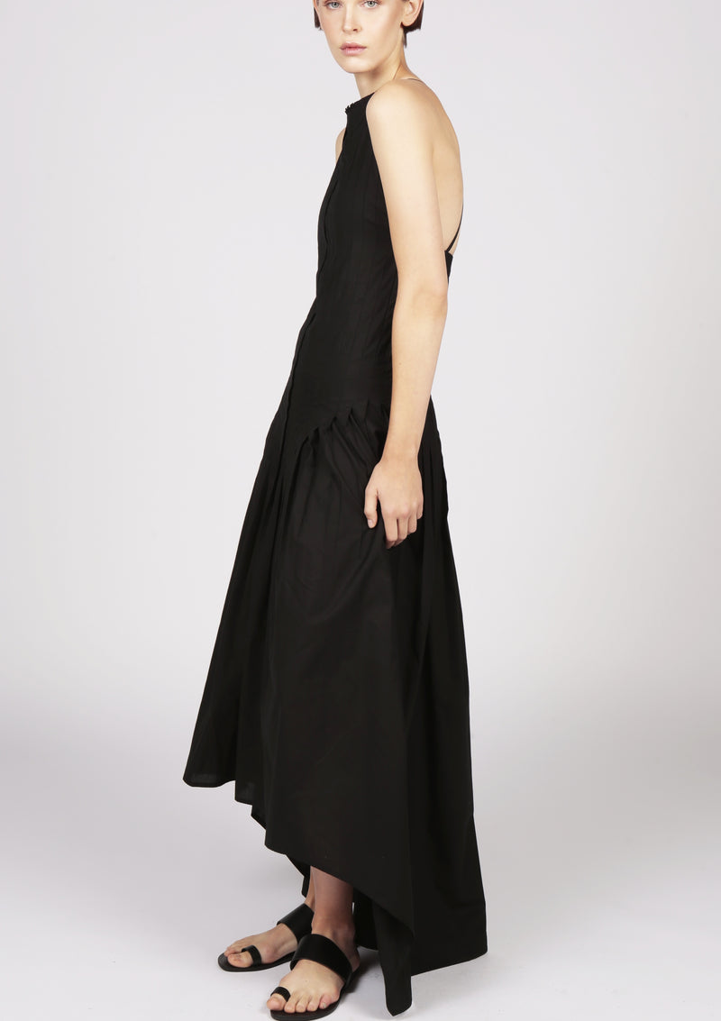 black cocktail pleated dress london designer
