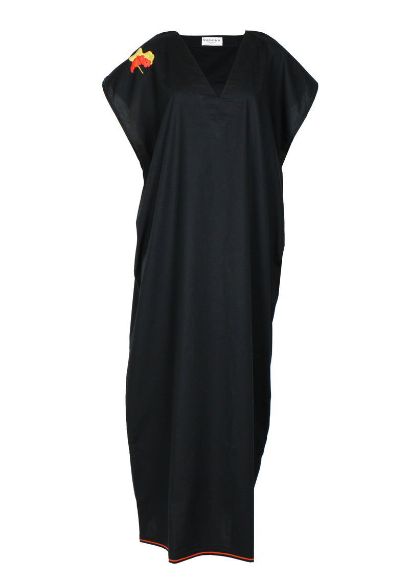 ELIOT black poplin cotton Kaftan dress with handmade embroidery