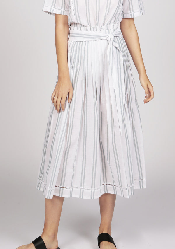white striped pleated midi skirt with eyelet lace trim