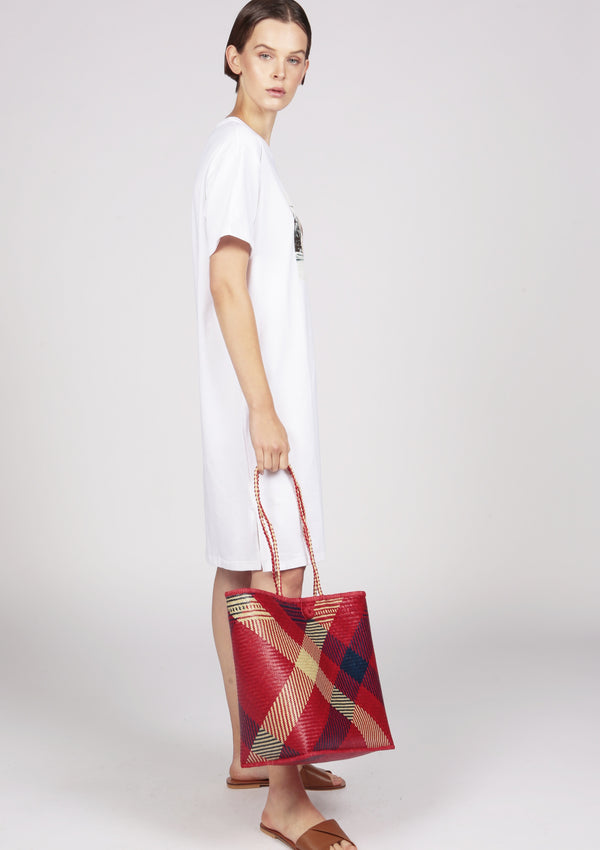 red basket bag london designer