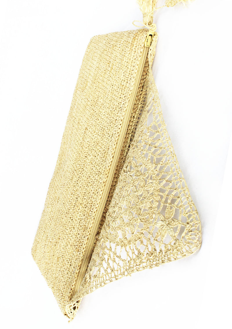 Maraina-London raffia lace clutch