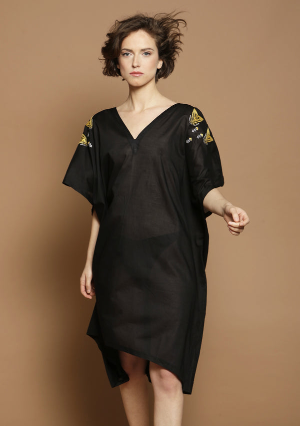 black embroidered beach dress