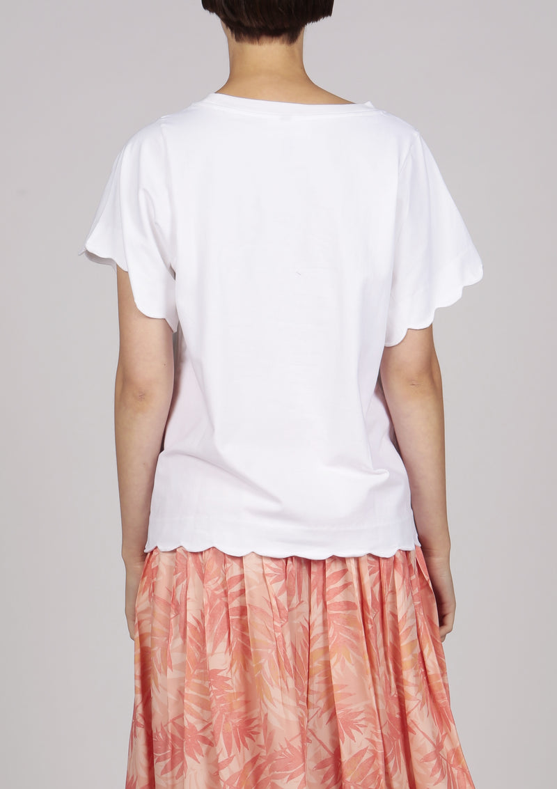 white scallop edge embroidered tshirt top
