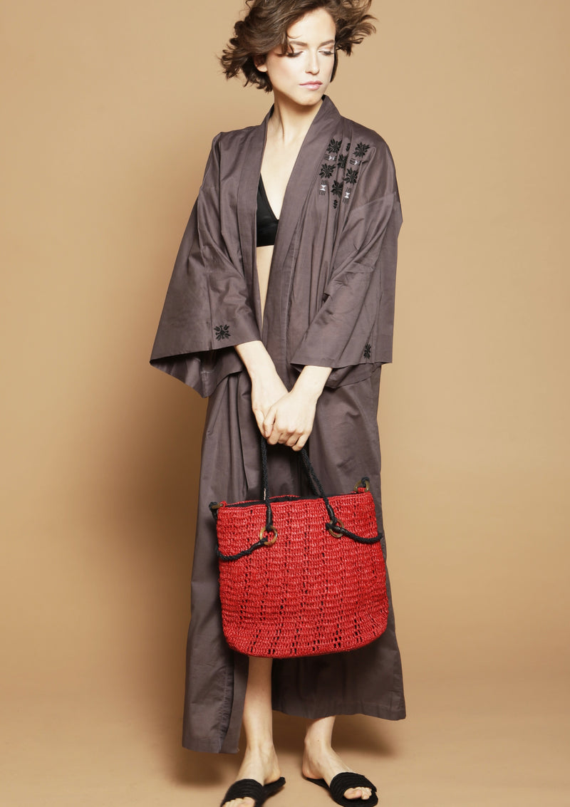 resortwear kimono robe and red beach bag