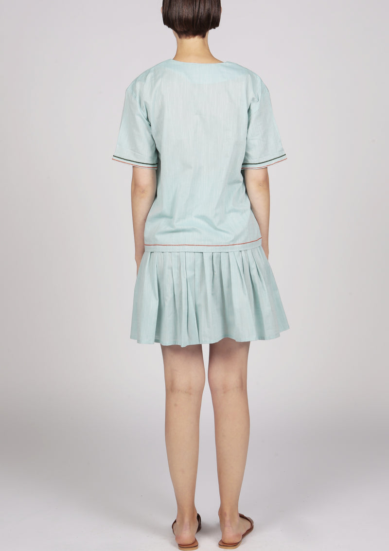 pleated green cotton mini skirt london