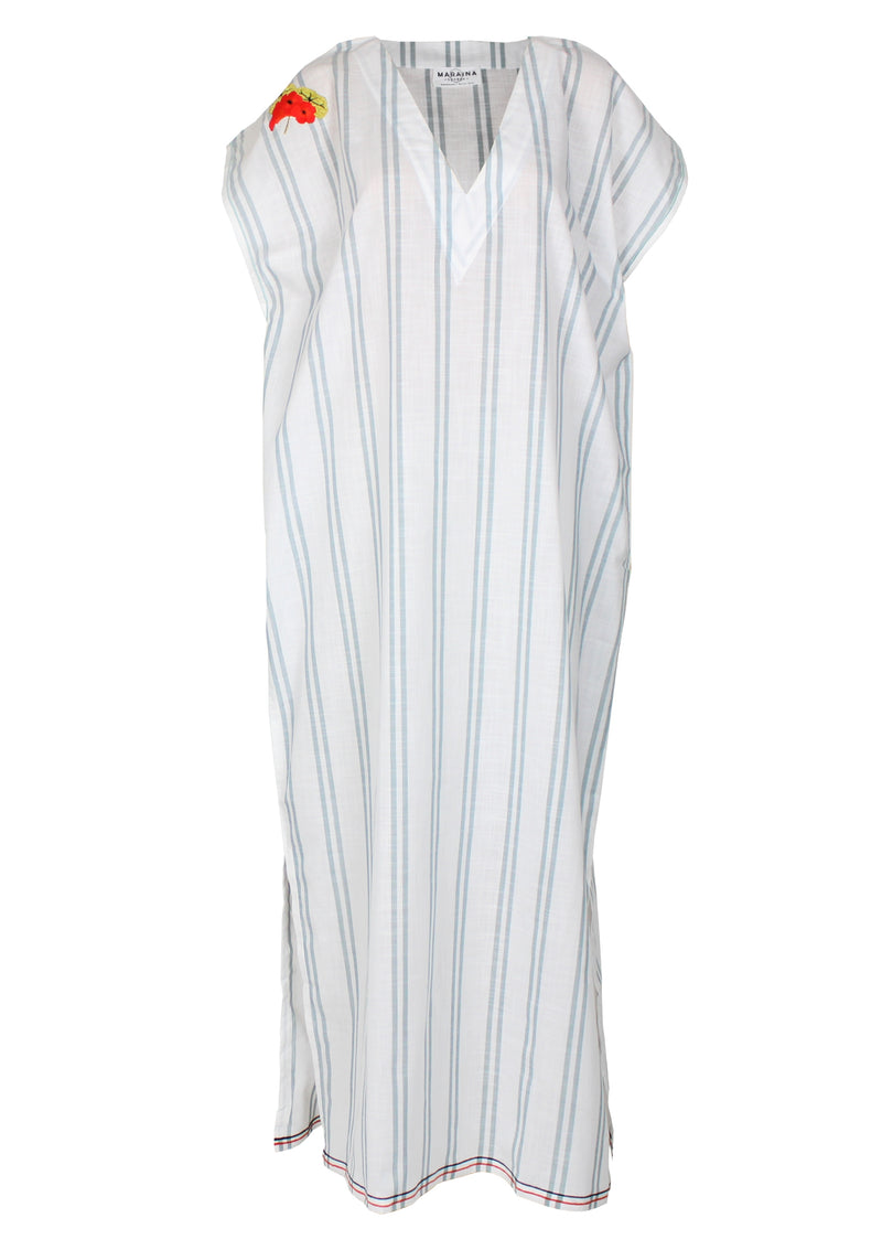 ELIOT white striped Kaftan dress with handmade embroidery