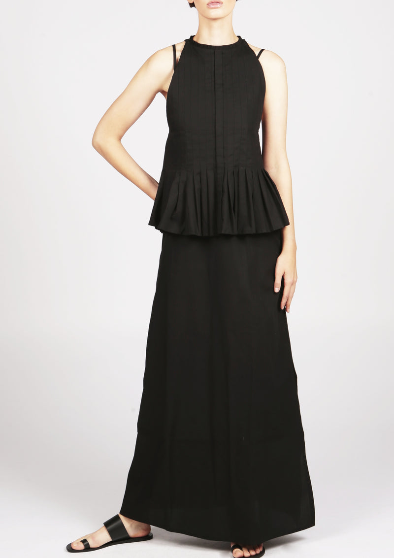pleated black dress british designer