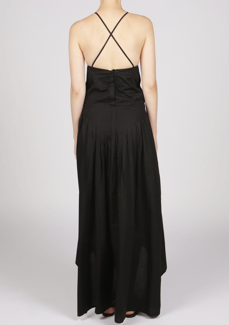 cotton pleated black dress slender straps