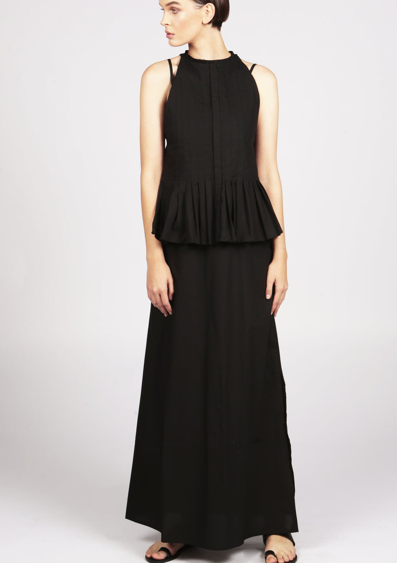 pleated black cotton maxi dress