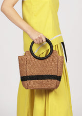raffia tote bag with circle handles