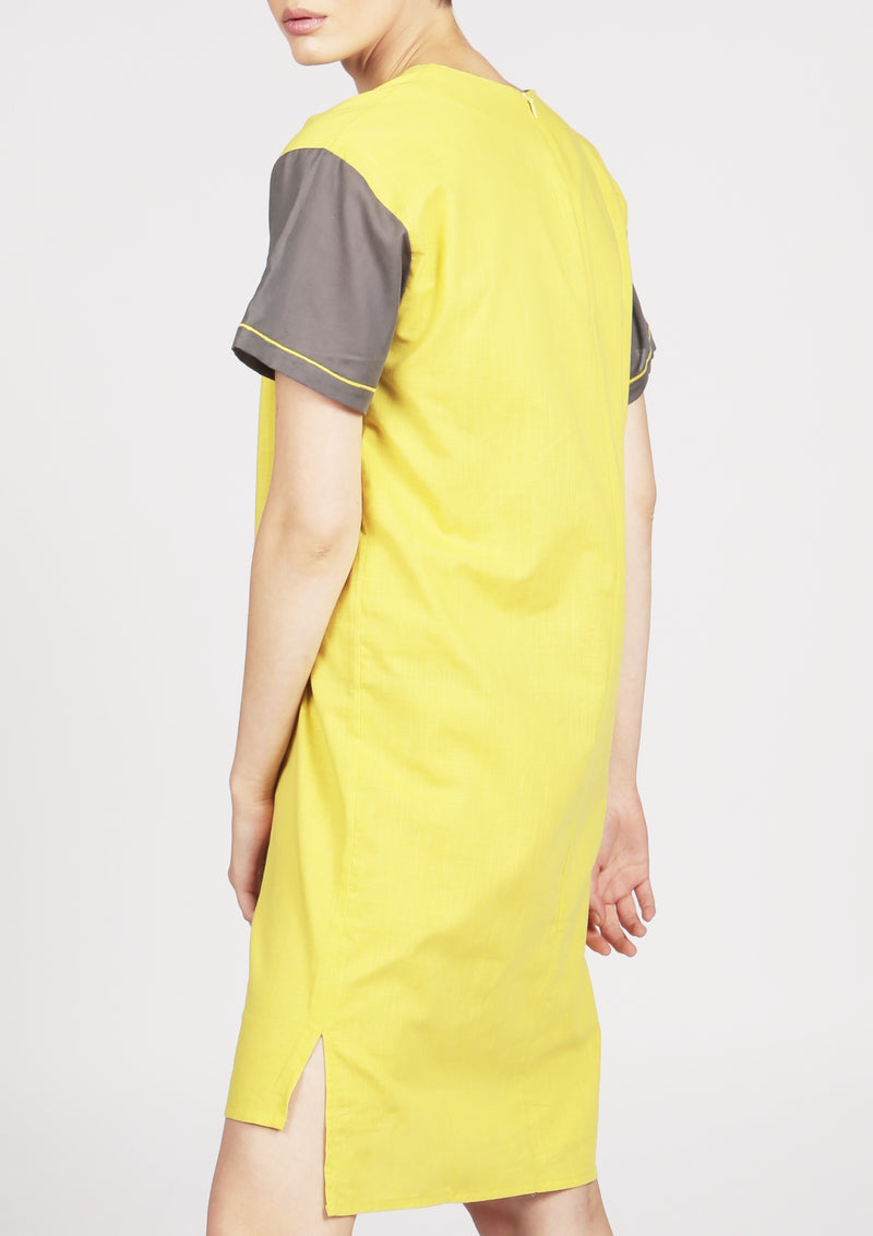 yellow and grey midi dress with embroidery
