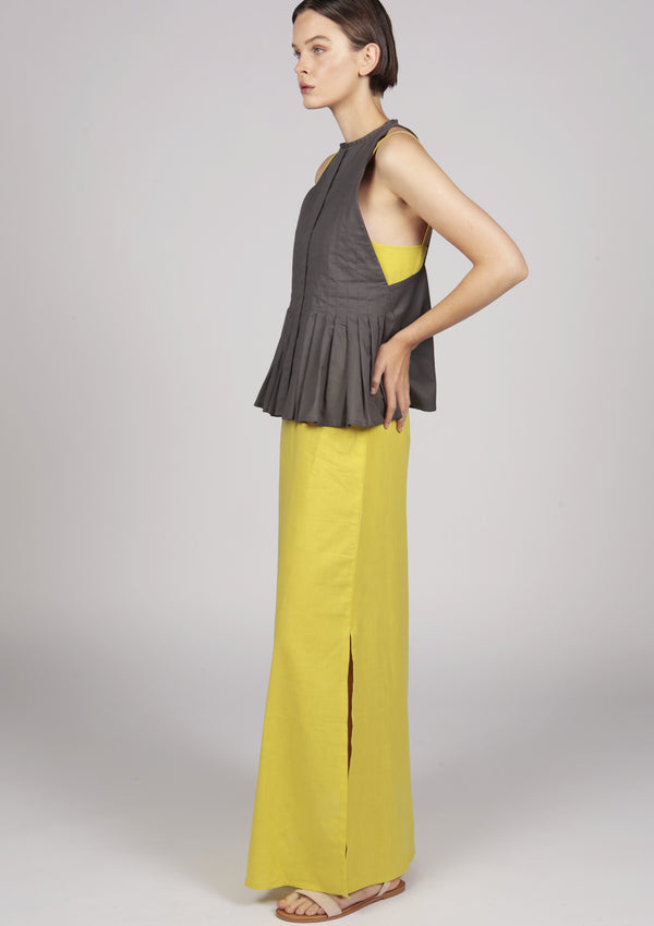 pleated cocktail maxi cocktail dress in yellow and grey