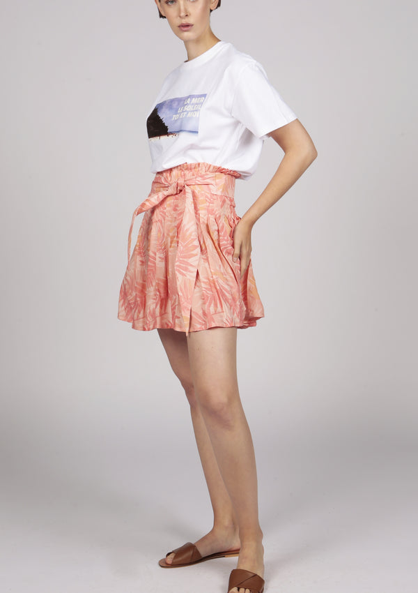 mini skirt pink pleated