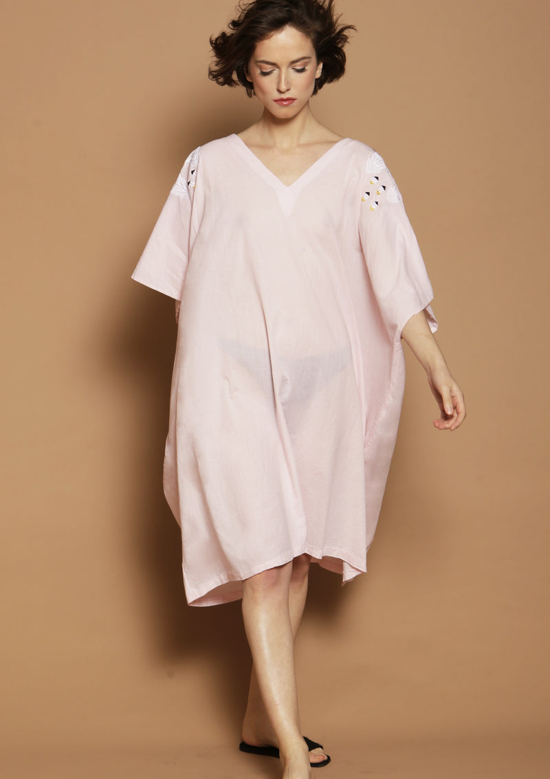 midi length kaftan dress in pink