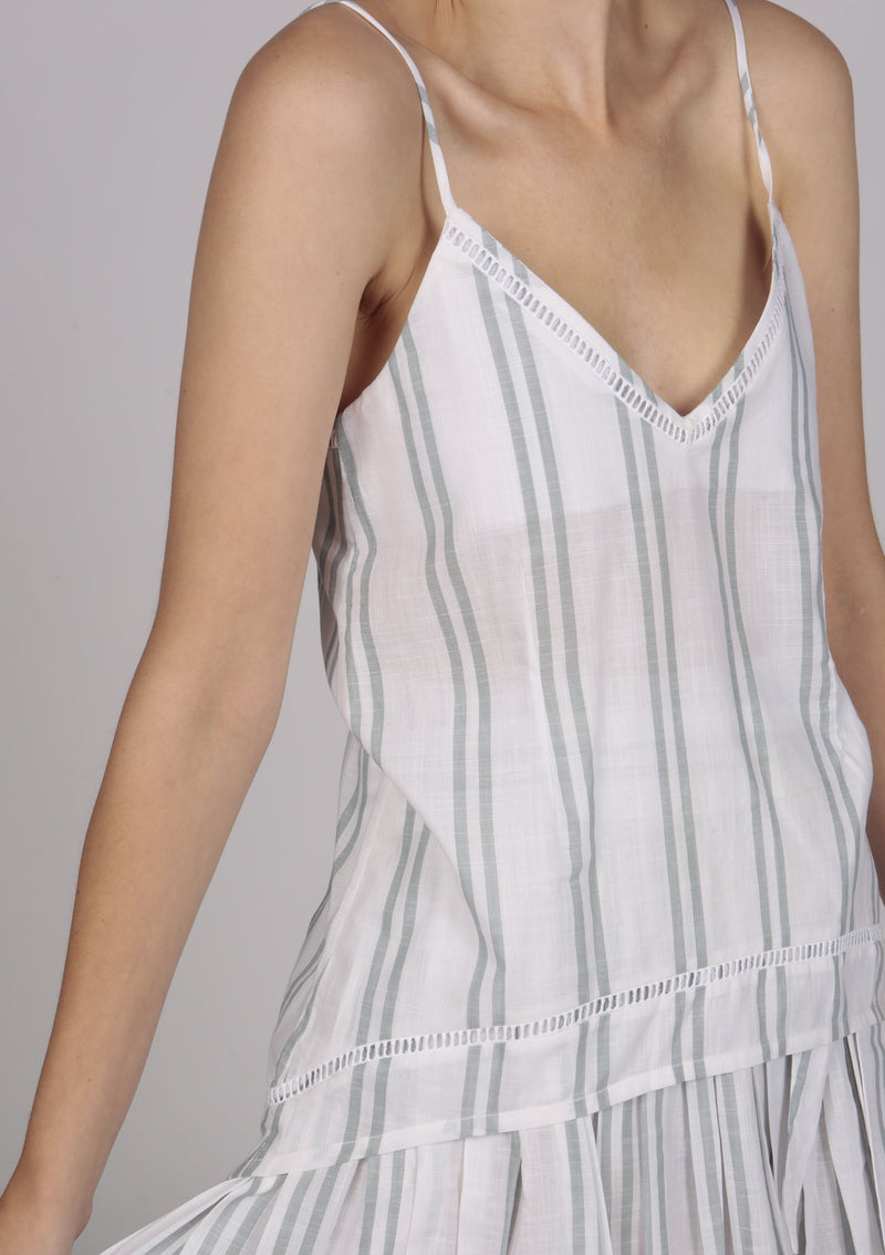 white striped cotton cami top