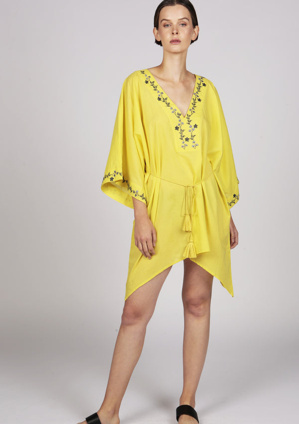 yellowz short kaftan dress with handmade embroidery