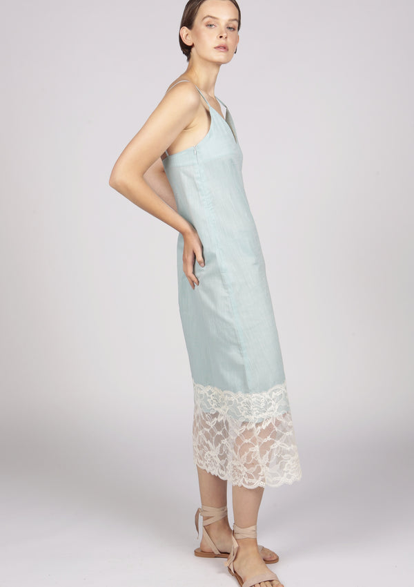 sweetheart neckline poplin cotton dress with lace