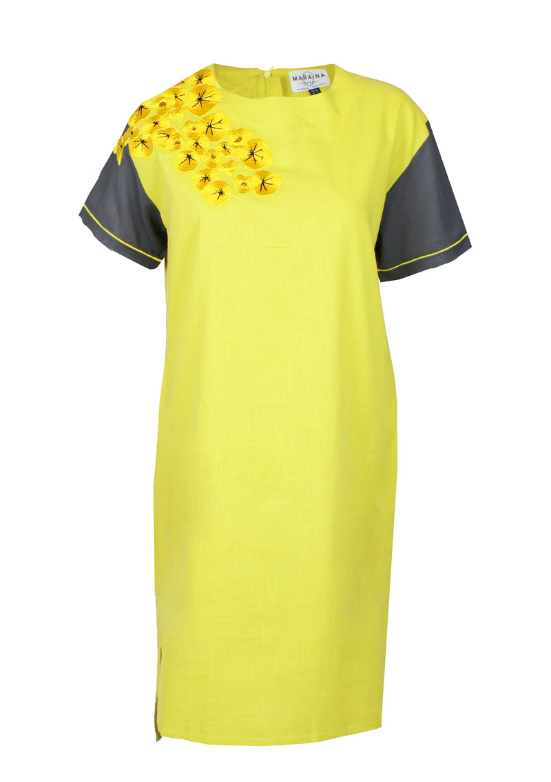 VIOLA yellow embroidered poplin midi-dress
