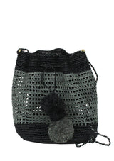 small raffia bucket bag