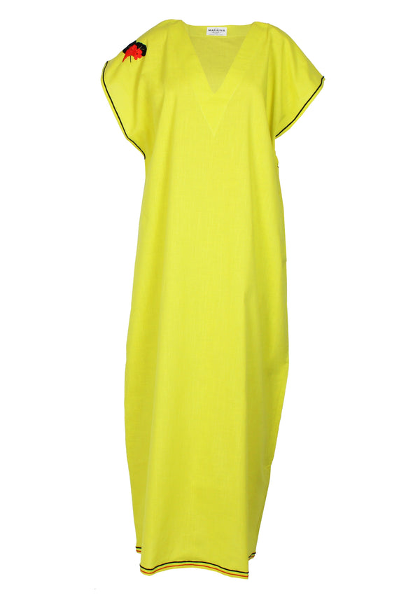 ELIOT yellow poplin cotton Kaftan dress with handmade embroidery