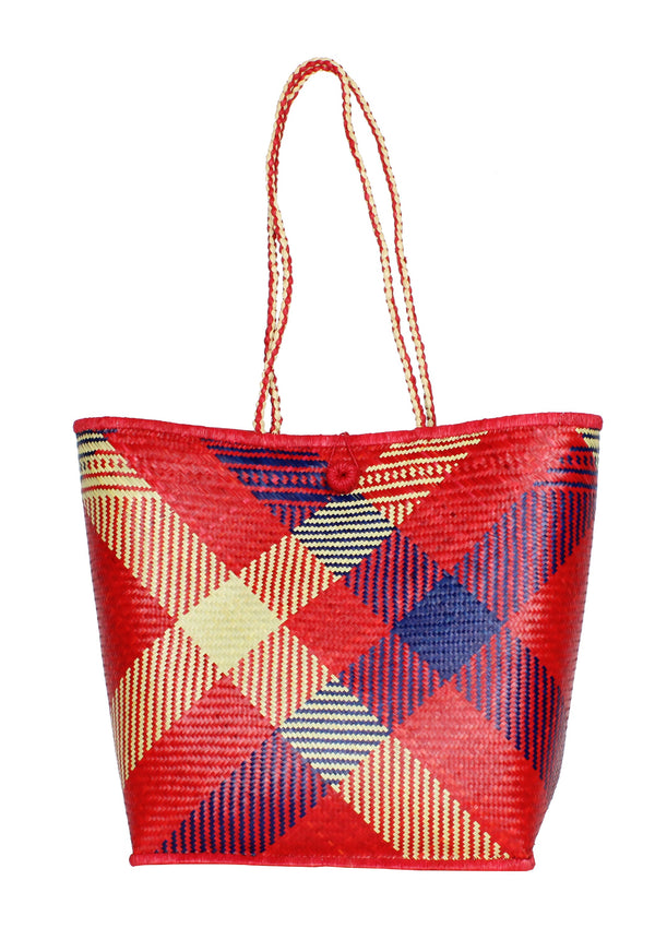 red straw basket bag sustainable fashion
