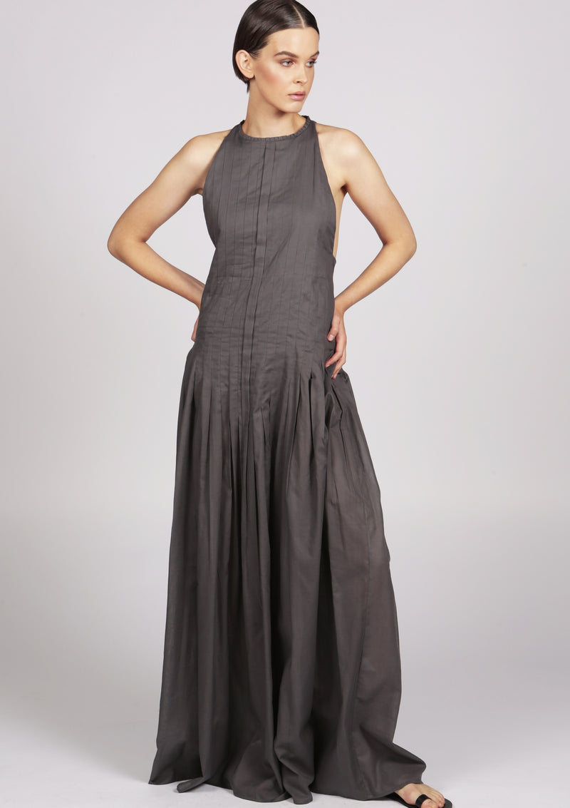 grey pleated dress