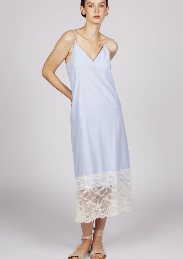 Blue cami midi dress with lace