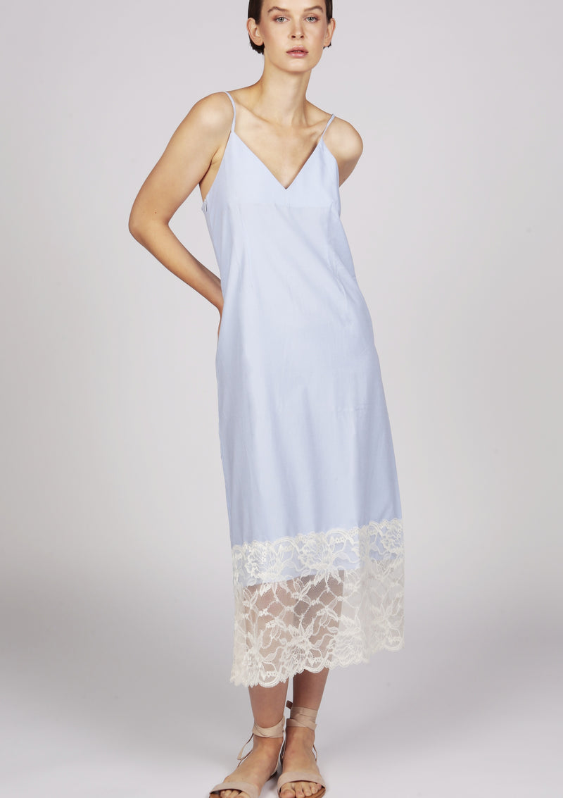 Maraina-London Blue cami midi dress with lace