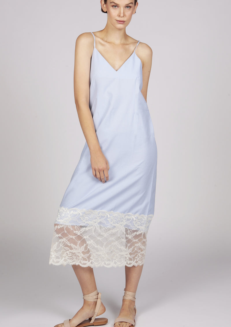 Maraina-London blue structured cotton dress with thin straps
