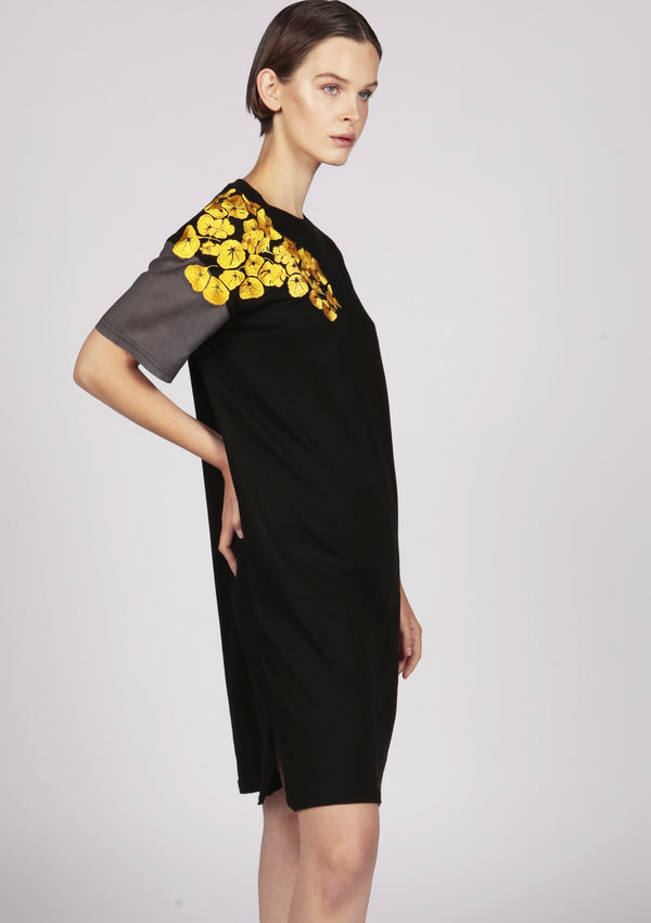 black cotton jersey embroidered midi dress