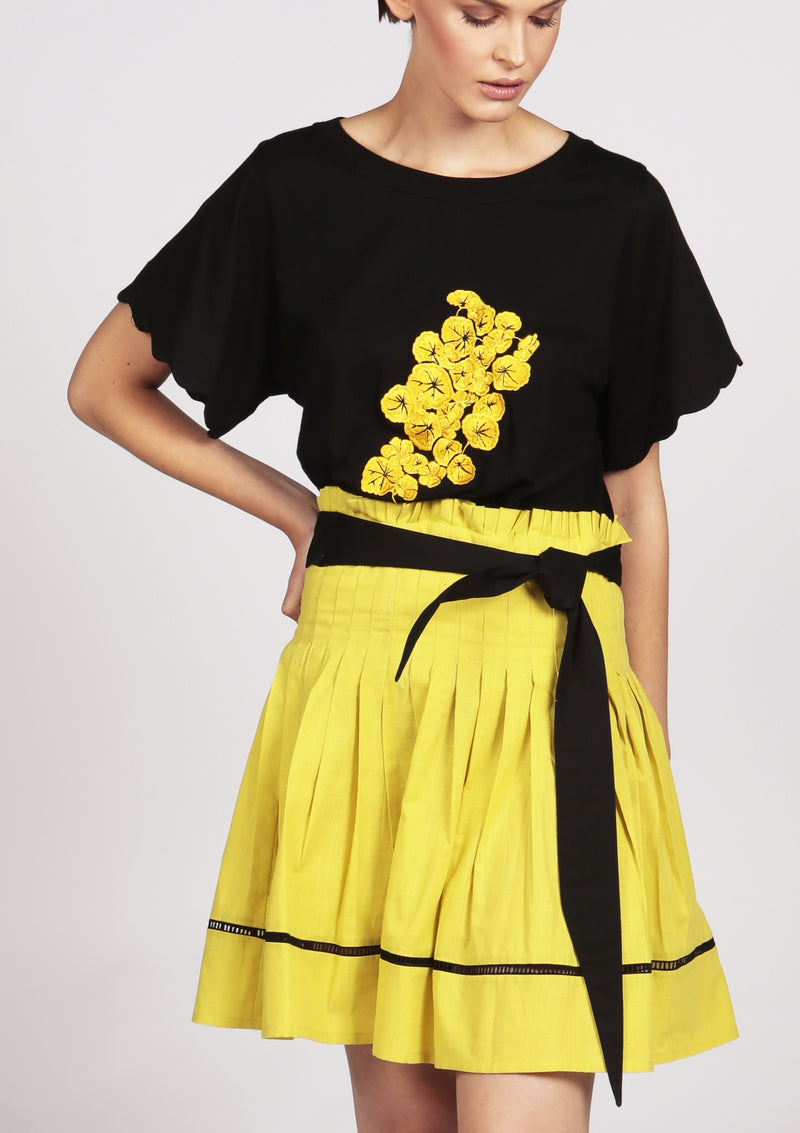 LAURA yellow pleated mini skirt