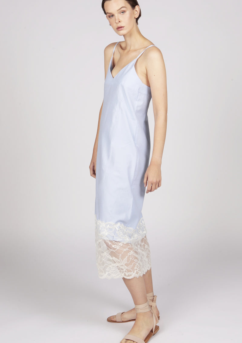 Maraina-London midi cotton dress with slender straps