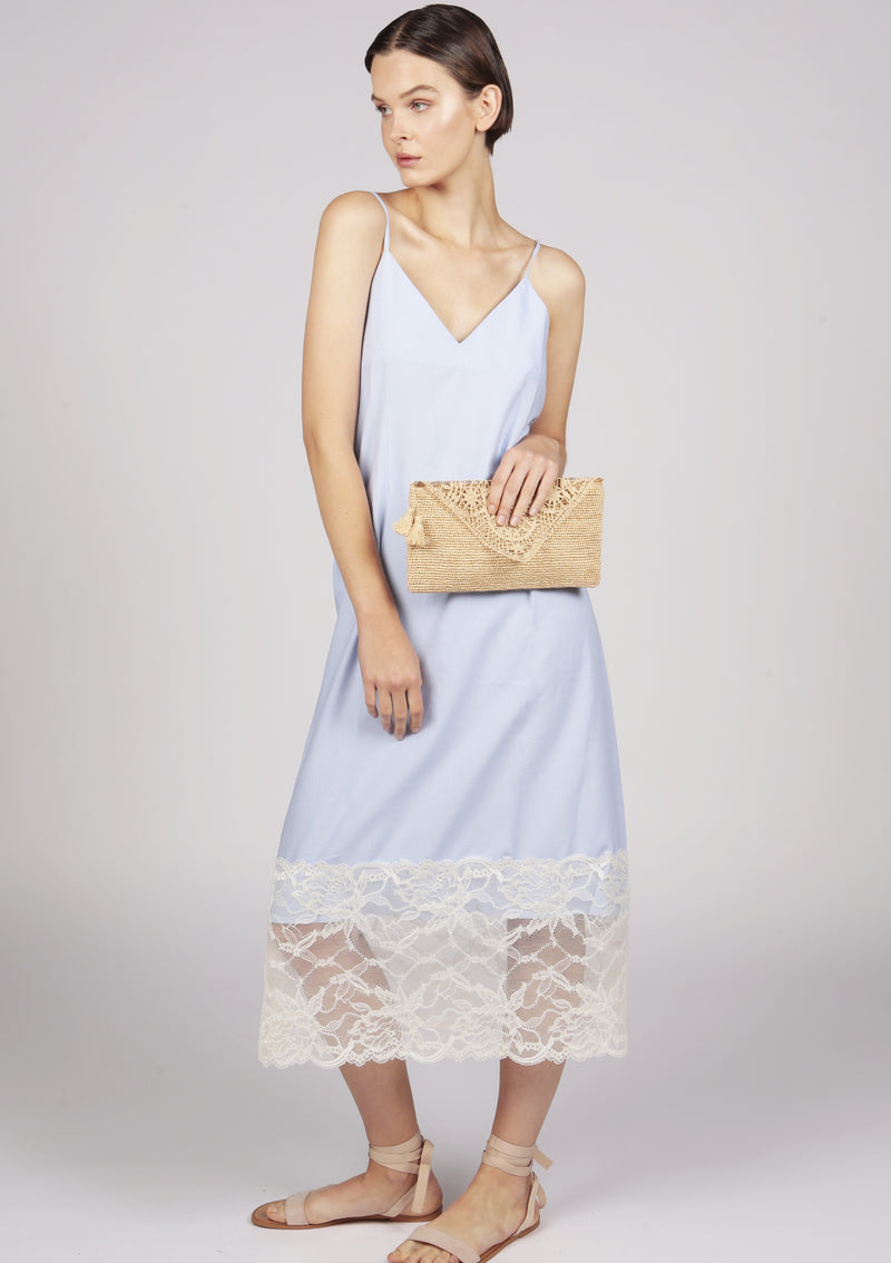 Maraina-London cotton blue dress with evening clutch