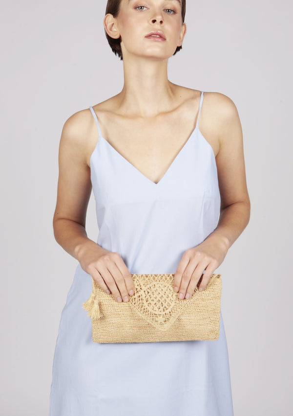 raffia evening clutch british design