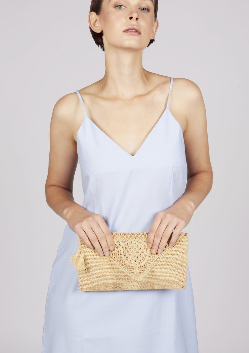 Maraina-London raffia evening clutch british design