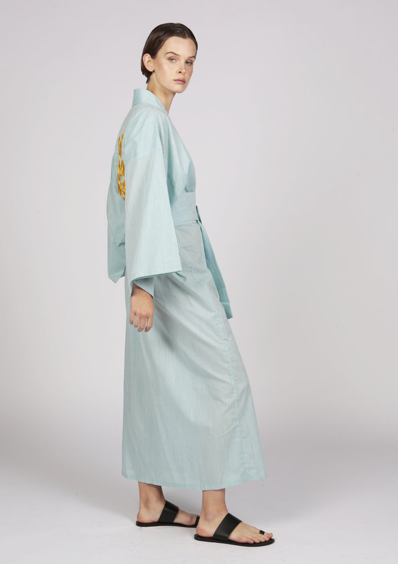 MURIA light green embroidered cotton kimono-style robe