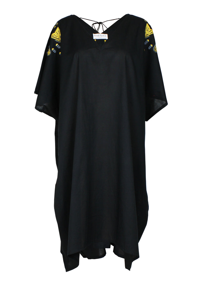 GABRIELLE Austria black cover-up dress with handmade embroidery