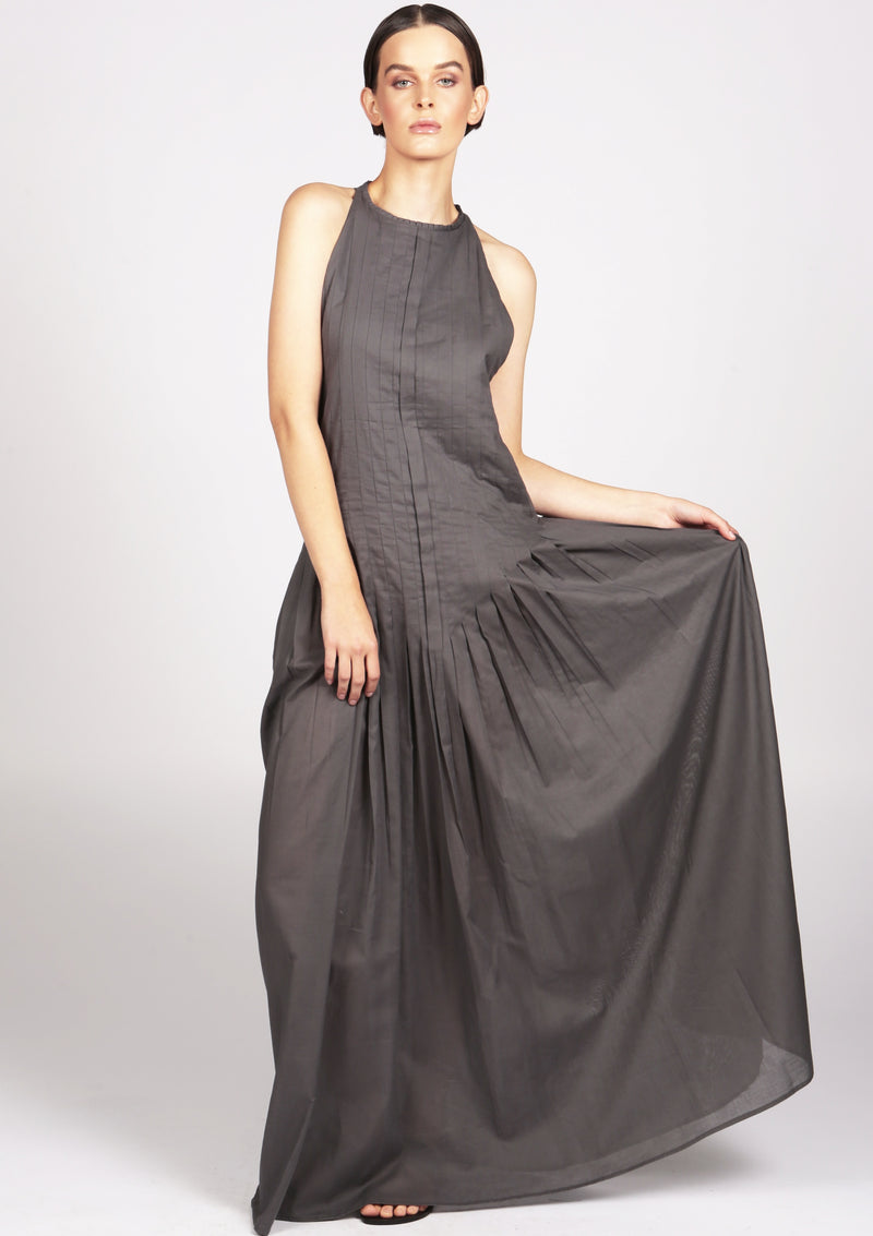 Grey plisse pleat maxi evening dress