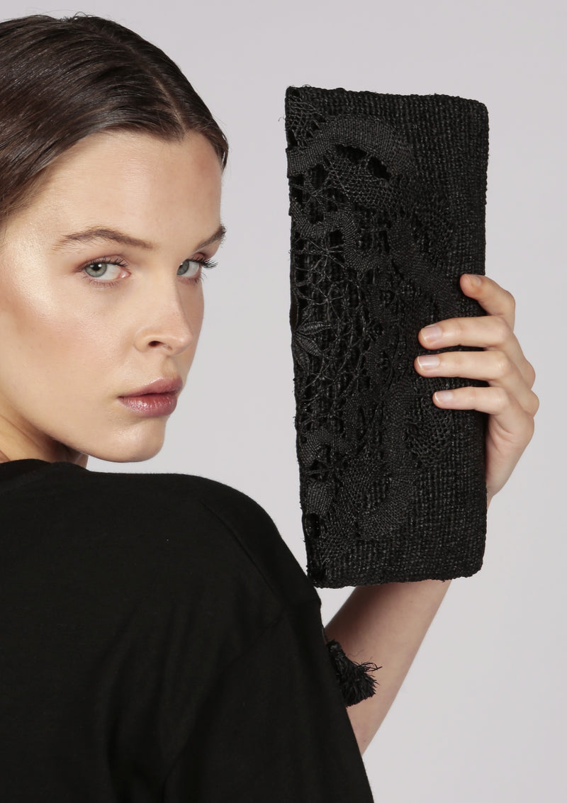black wedding raffia clutch bag
