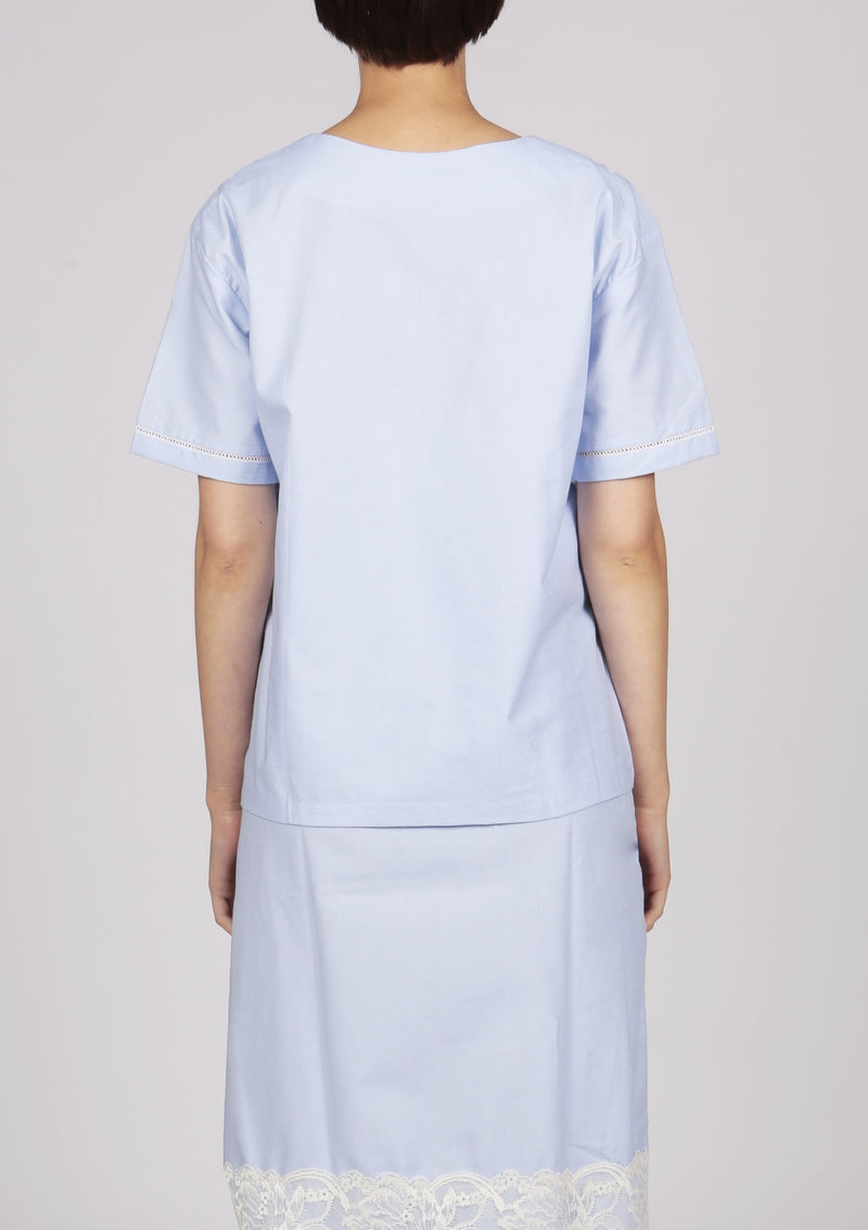 womenswear short sleeve cotton blouse in blue