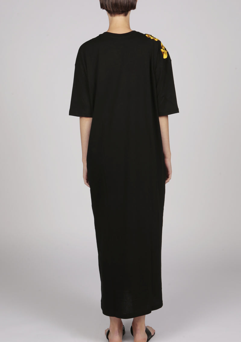 black maxi t-shirt cotton jersey