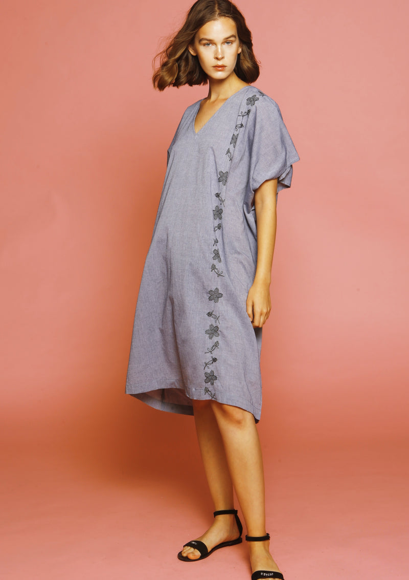 poplin cotton dress with embroidery