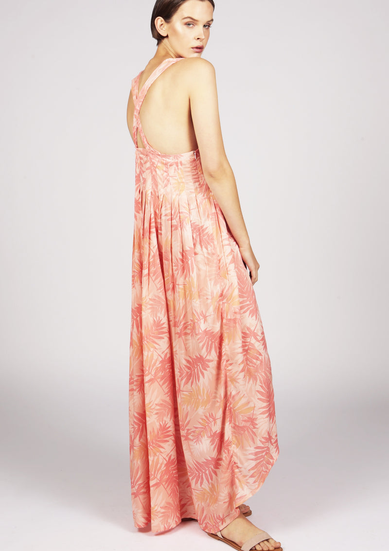 pink pleated cocktail dress for luxury resort wear